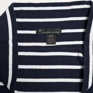 Forever 21 Navy Blue And White Striped Mini Skirt
